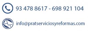 Datos de contacto. Prat Servicios y Reformas en El Prat de Llobregat, Baix Llobregat y Barcelona.